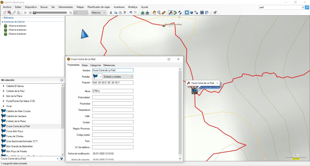 BaseCamp modificar waypoint